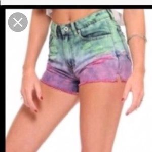 Gypsy Warrior Tie Dye Distressed Denim Shorts